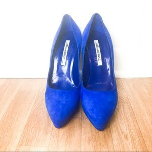 Brian Atwood blue suede high heel shoes size 39